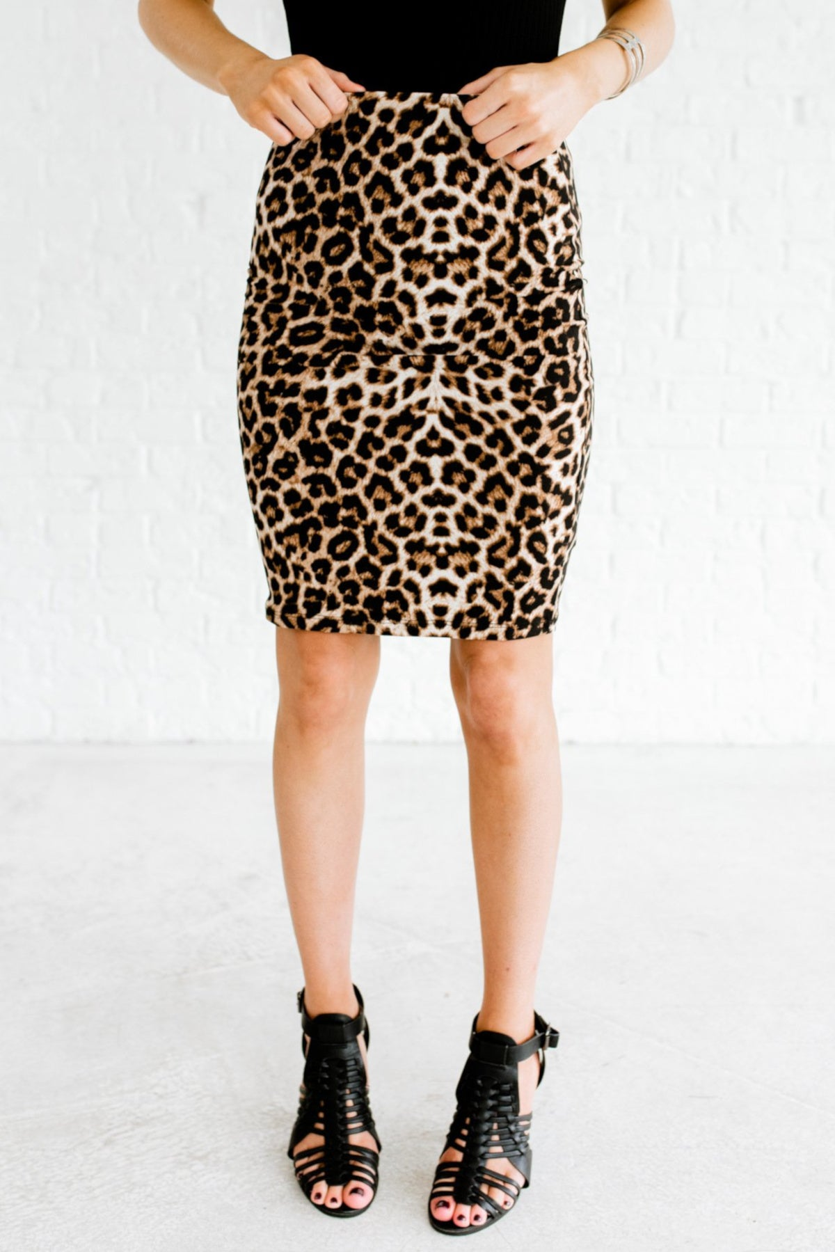 Beige Brown Leopard Print Boutique Mini Skirts for Women