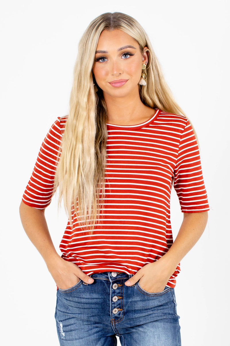 Earn Your Stripes Brick Red Top