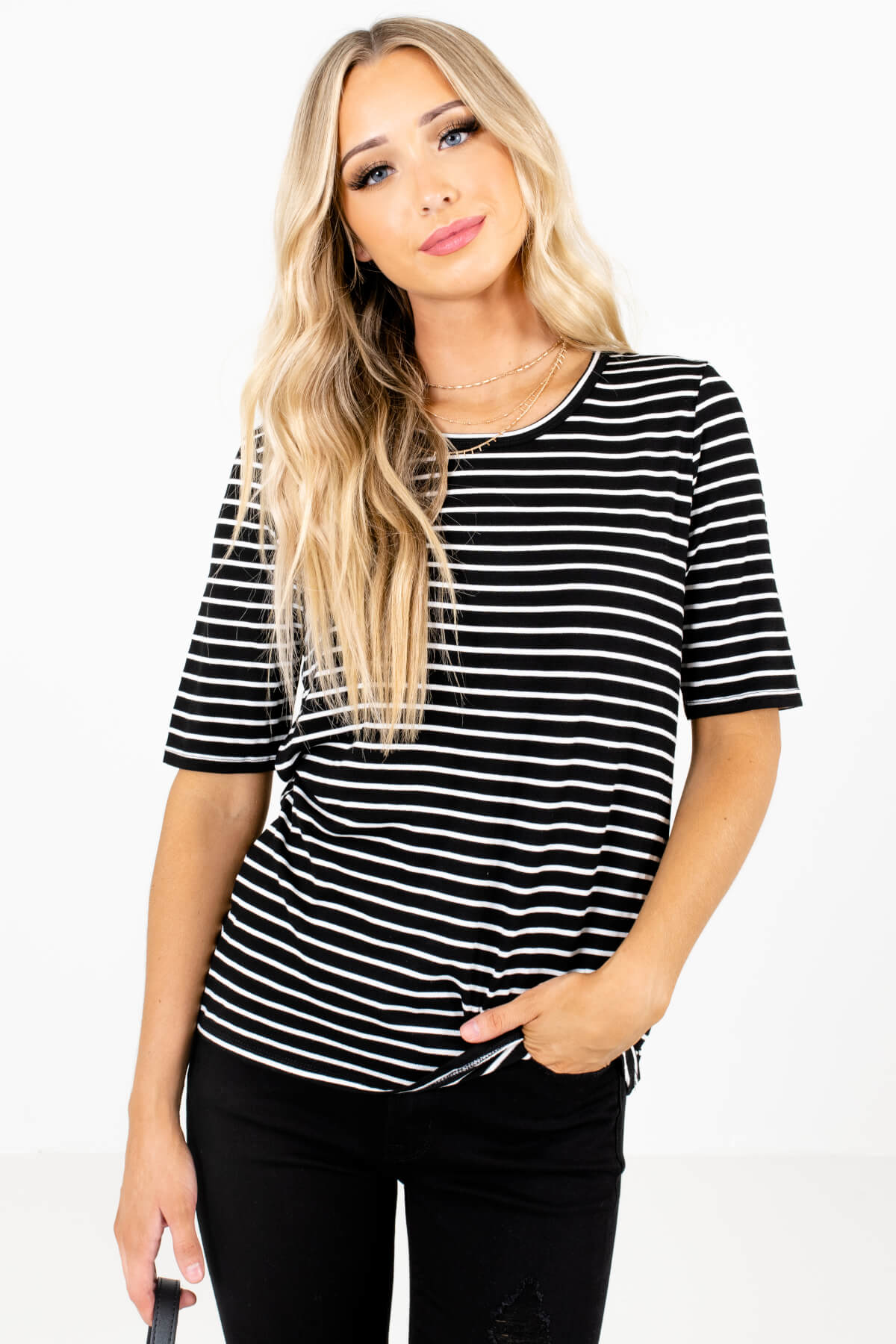 White and Black Stripe Patterned Boutique Tops for Women