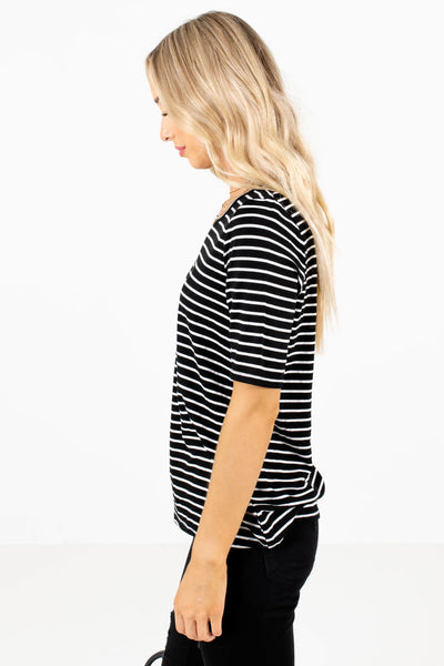White and Black Striped Round Neckline Boutique Tops for Women