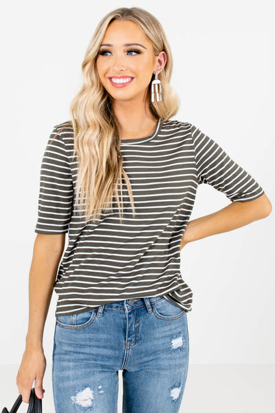 Women's Olive Casual Everyday Boutique Tops