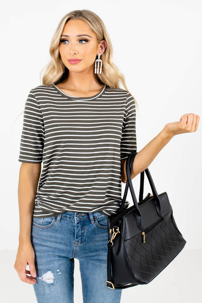 White and Olive Stripe Patterned Boutique Tops for Women