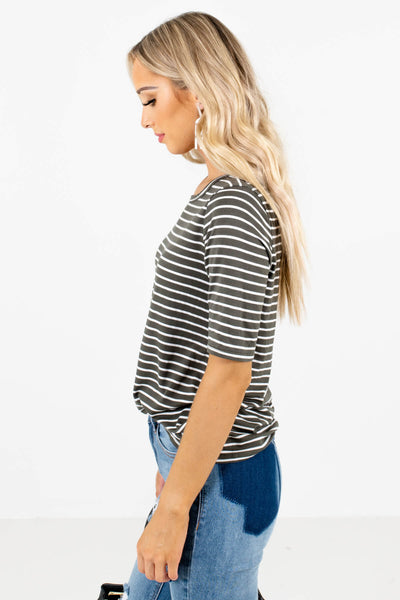 Olive and White Striped Round Neckline Boutique Tops for Women