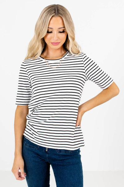 Women's White High-Quality Stretchy Material Boutique Tops