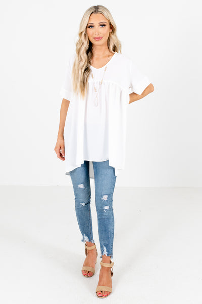 Women's White Lightweight Material Boutique Blouse