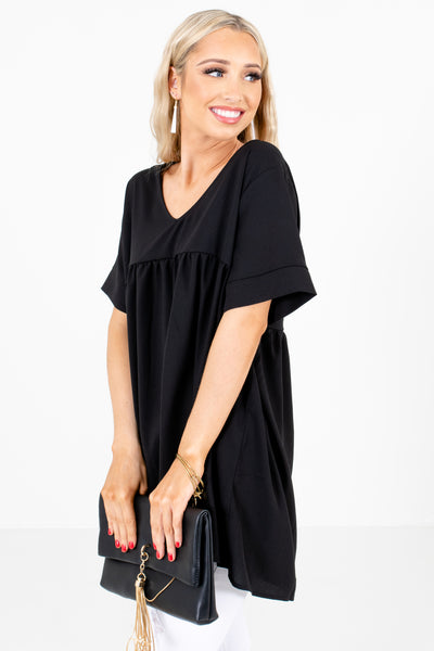 Women's Black V-Neckline Boutique Blouse