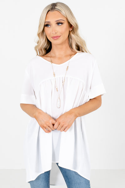 White Casual Everyday Boutique Blouses for Women