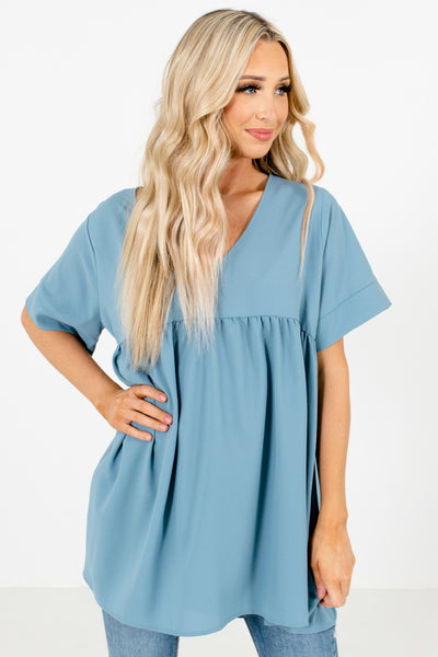 Women's Blue High-Quality Material Boutique Blouse