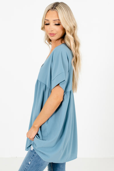 Women's Blue Casual Everyday Boutique Blouse