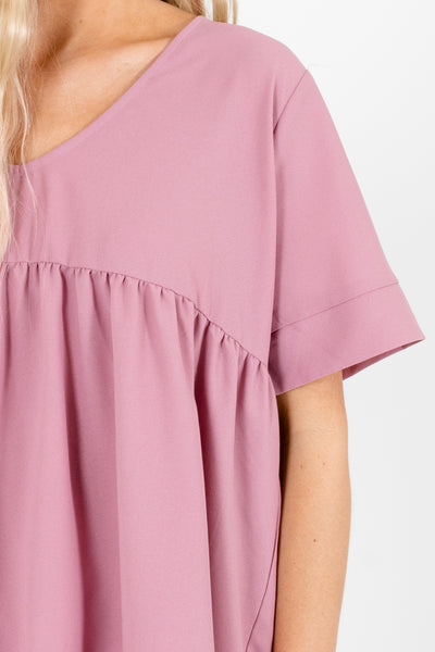 Women's Pink Pleated Accented Boutique Blouse