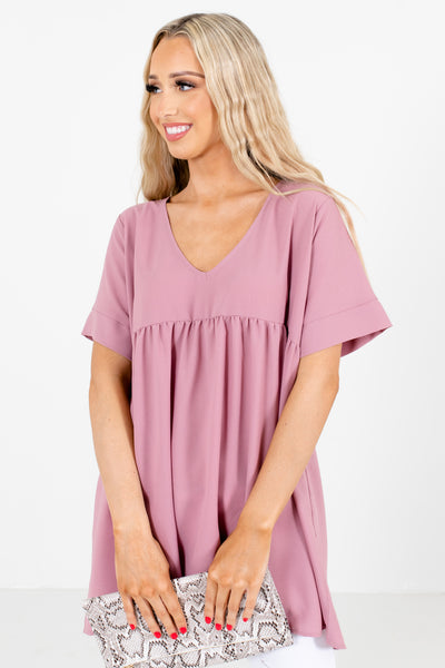 Pink Short Sleeve Boutique Blouses for Women, business casual tops