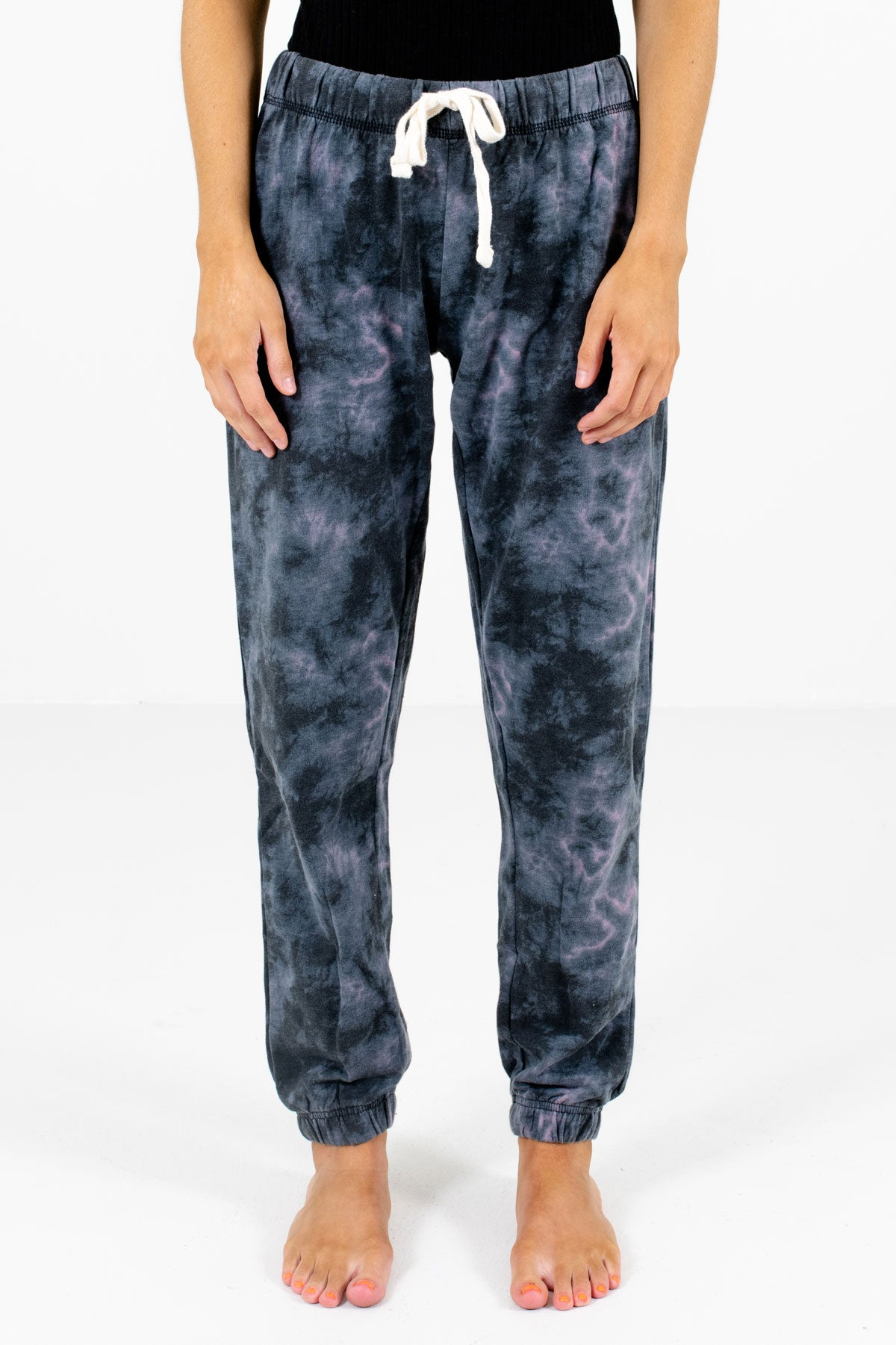 Charcoal Gray Tie-Dye Print Boutique Joggers for Women