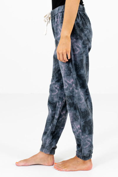 Charcoal Gray Elastic Cuff Boutique Joggers for Women