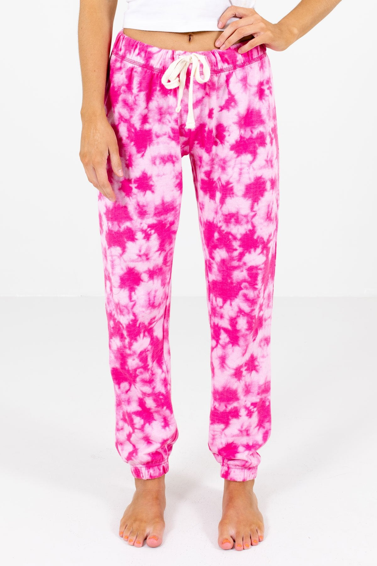 Pink Tie-Dye Print Boutique Joggers for Women