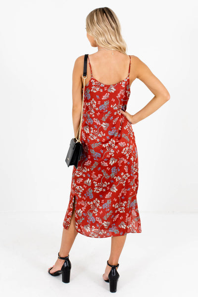 Women's Rust Red Cowl Neckline Boutique Midi Dresses
