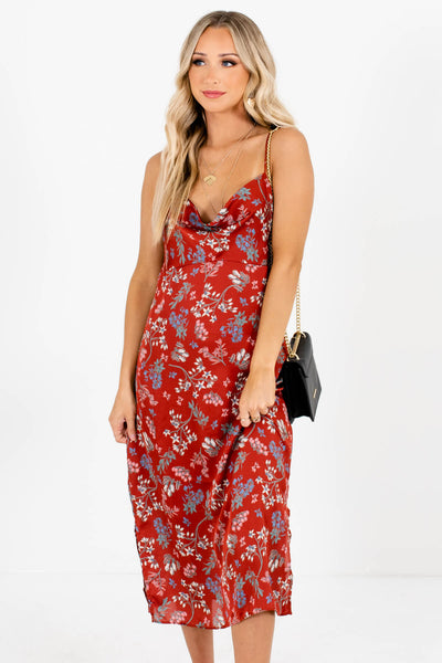 Women's Rust Red Side Hem Slit Boutique Midi Dress