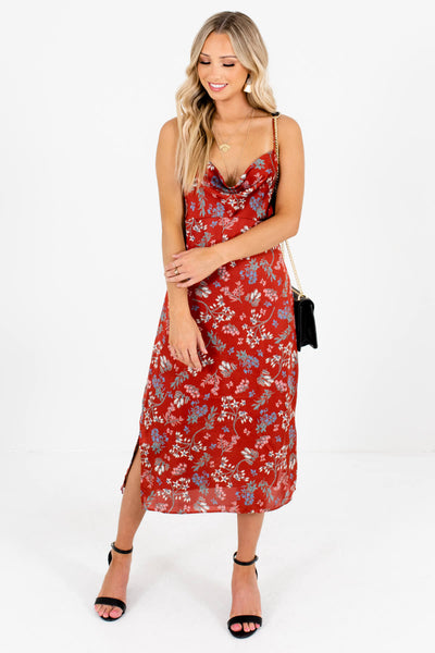 Rust Red Cute and Comfortable Boutique Midi Dresses for Women