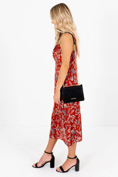 Rust Red Adjustable Strap Boutique Midi Dresses for Women