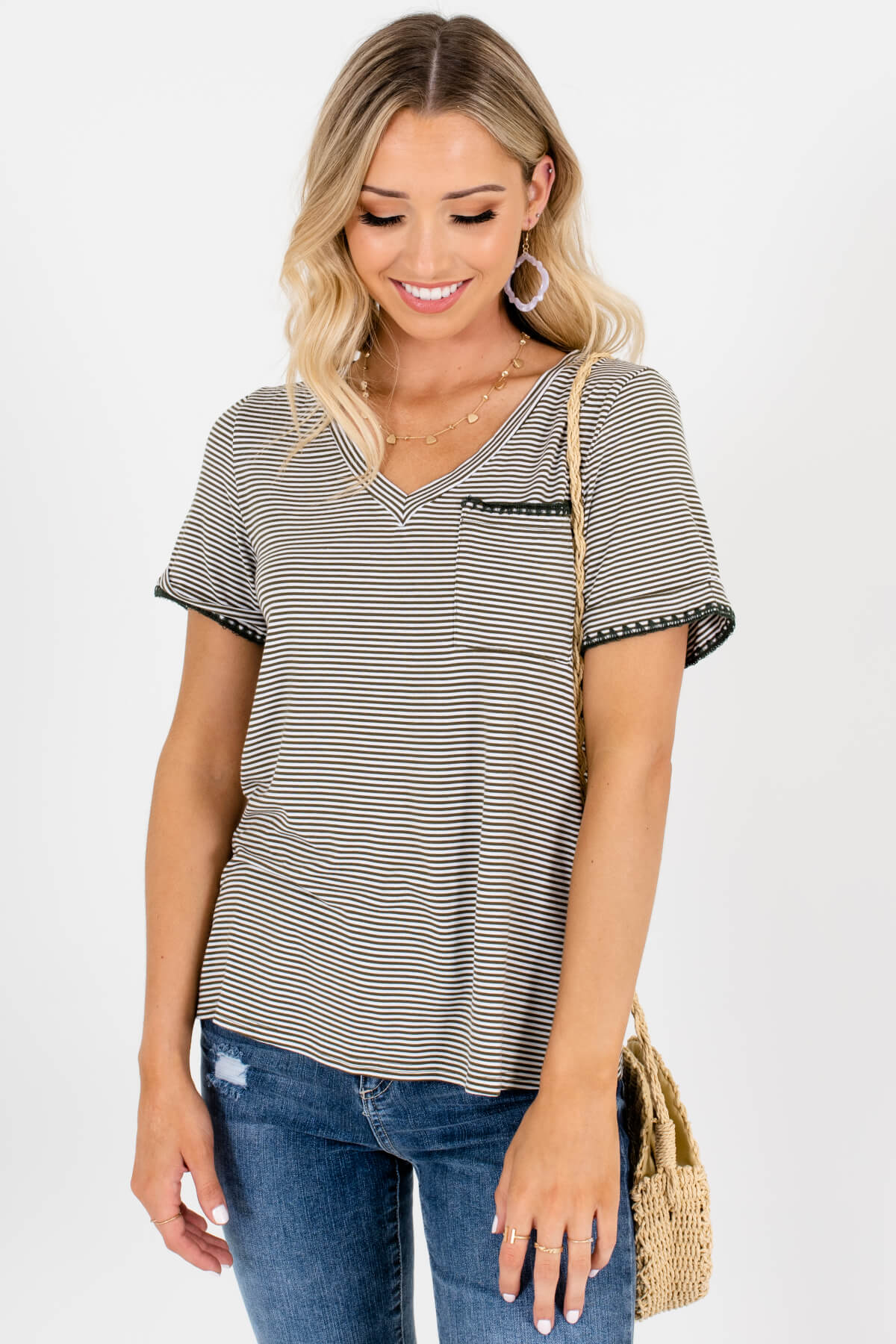 Olive Green White Striped T-Shirt Affordable Online Boutique