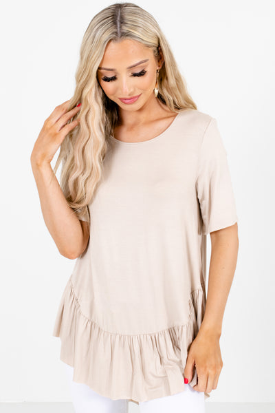 Brown Round Neckline Boutique Tops for Women