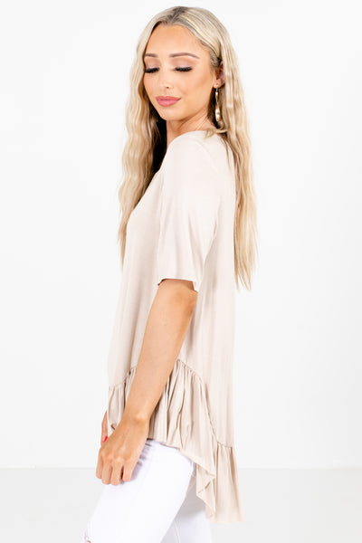 Women's Brown High-Low Hem Boutique Tops