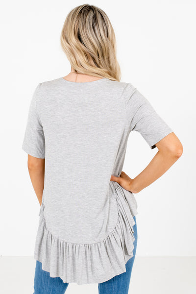 Women's Gray Casual Everyday Boutique Tops