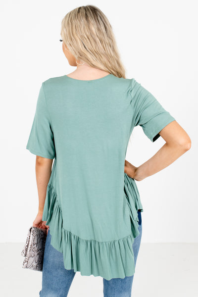 Women's Green Short Sleeve Boutique Tops