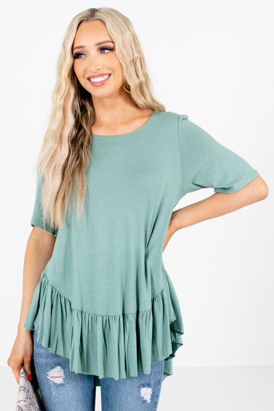 Green Peplum Style Hem Boutique Tops for Women
