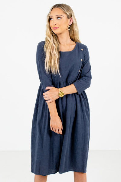Women's Blue Boutique Knee-Length Dress with Pockets