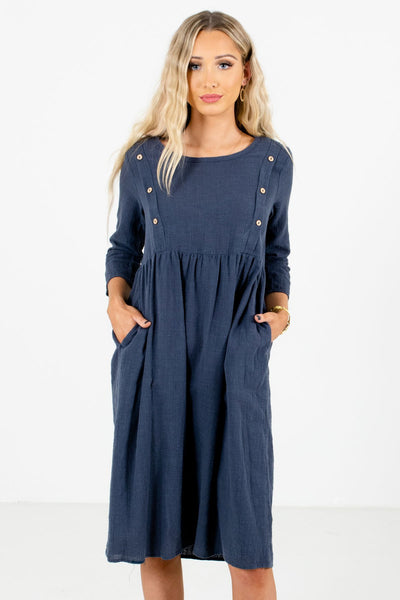 Blue Knee-Length Boutique Dresses for Women