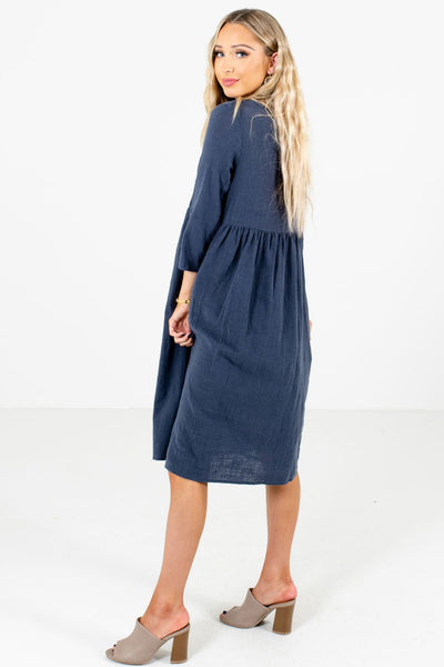 Blue ¾ Length Sleeve Boutique Dresses for Women