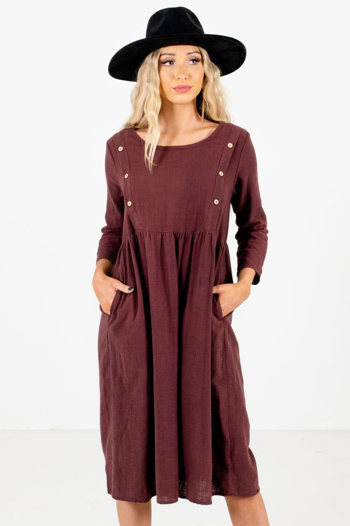 Purple Knee-Length Boutique Dresses for Women