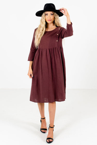 Women's Purple Casual Everyday Boutique Knee-Length Dress