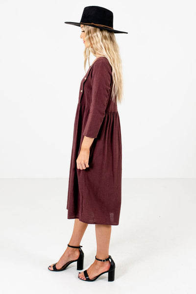 Purple ¾ Length Sleeve Boutique Dresses for Women