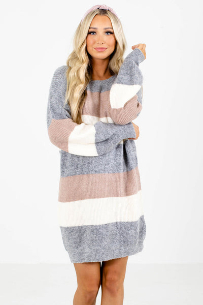 Gray Cute and Comfortable Boutique Sweater Dresses for Women