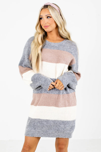 Gray Multicolored Striped Patterned Boutique Sweater Dresses for Women