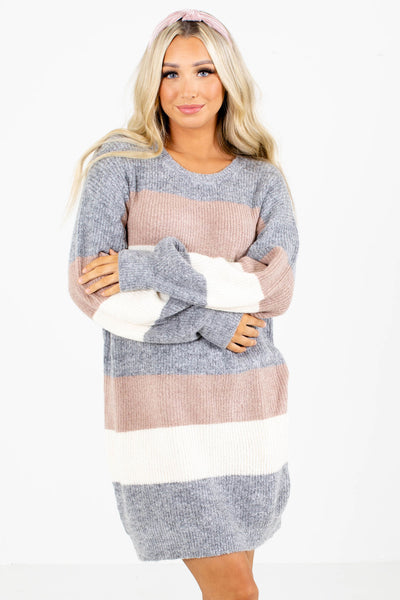 Women's Gray Cozy and Warm Boutique Sweater Dress