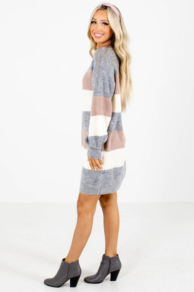 Gray High-Quality Knit Material Boutique Dresses for Women
