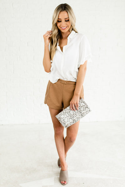 Camel Brown Boutique Shorts with Side Zipper Detail for Women