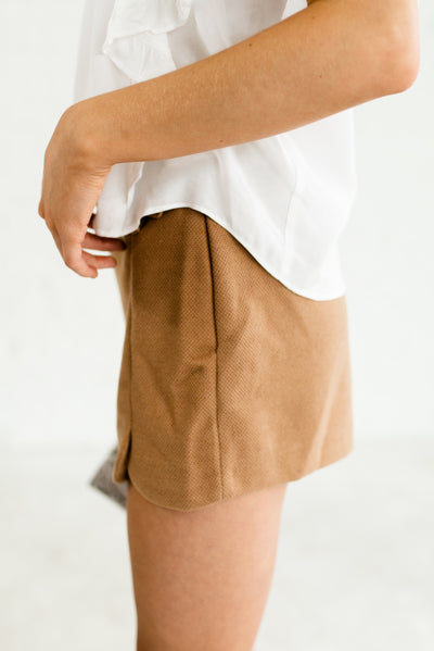 Camel Brown Women's Boutique Shorts with Back Faux Pockets