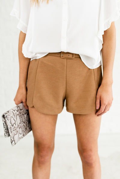 Camel Brown Business Casual Boutique Shorts for Women
