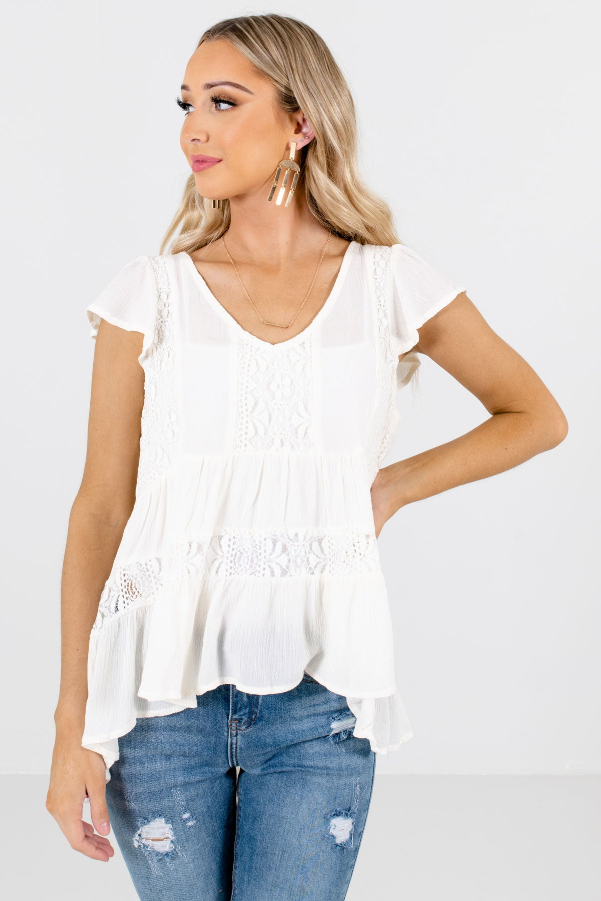 Cream White Semi-Sheer Lace Boutique Tops for Women