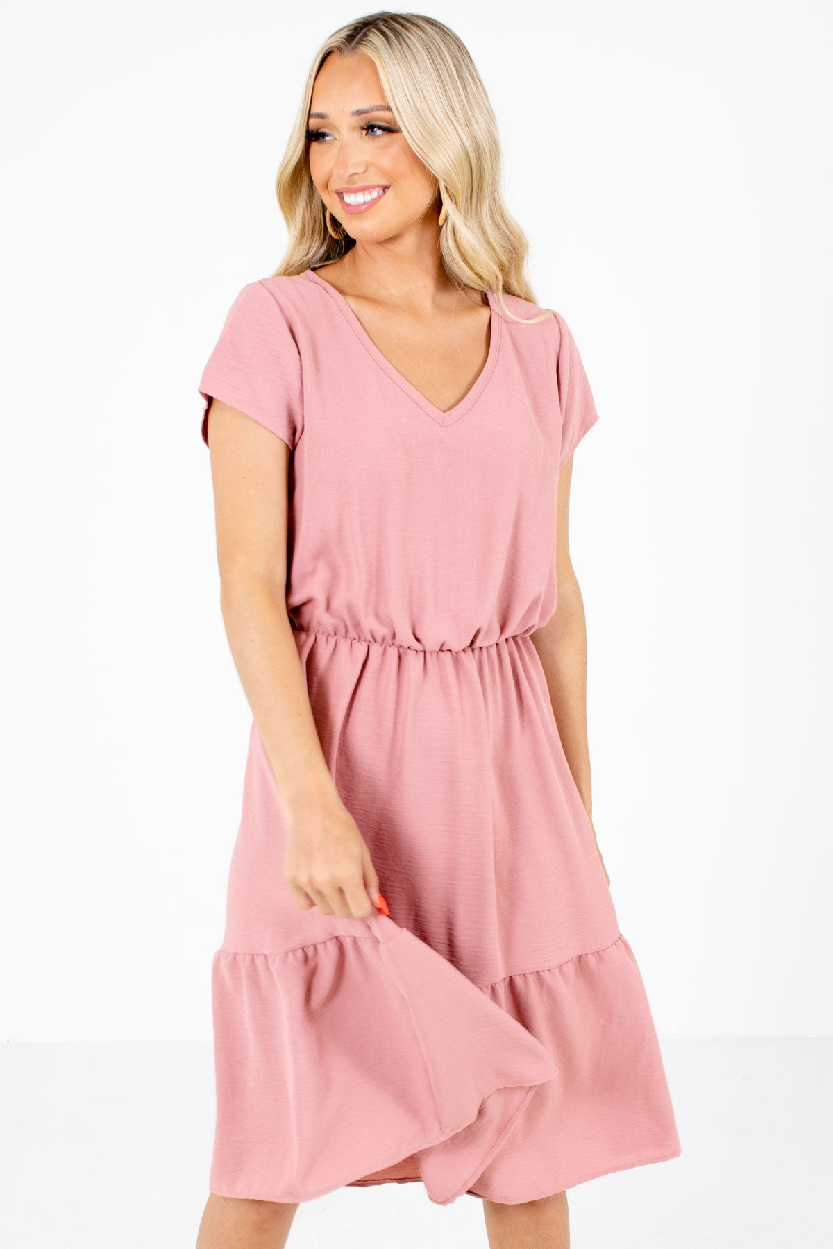 Pink V-Neckline Boutique Midi Dresses for Women