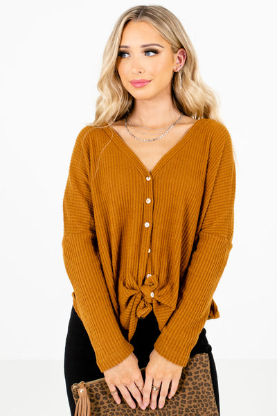 Tawny Orange Button-Up Front Boutique Tops for Women