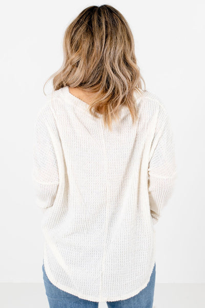 Women's Cream High-Quality Waffle Knit Material Boutique Tops
