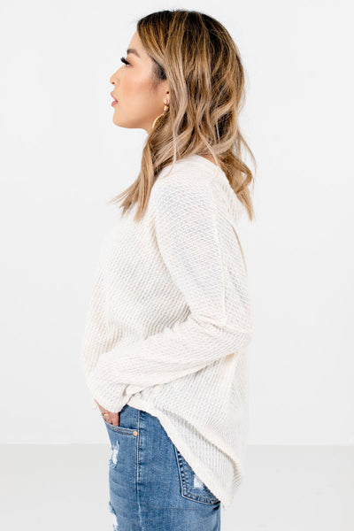 Cream Long Sleeve Boutique Tops for Women