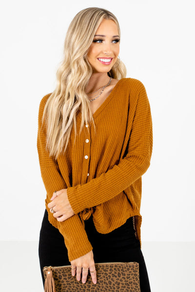 Women's Tawny Orange Warm and Cozy Boutique Tops
