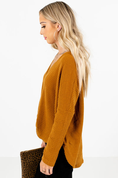 Tawny Orange Long Sleeve Boutique Tops for Women