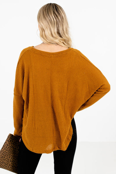 Women's Tawny Orange High-Quality Waffle Knit Material Boutique Tops