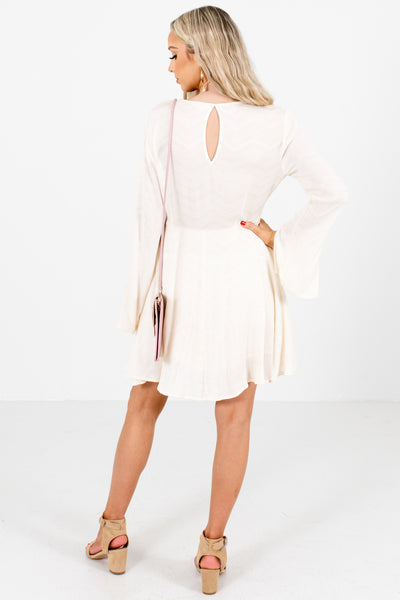 Women's Ivory Keyhole Back Boutique Mini Dress